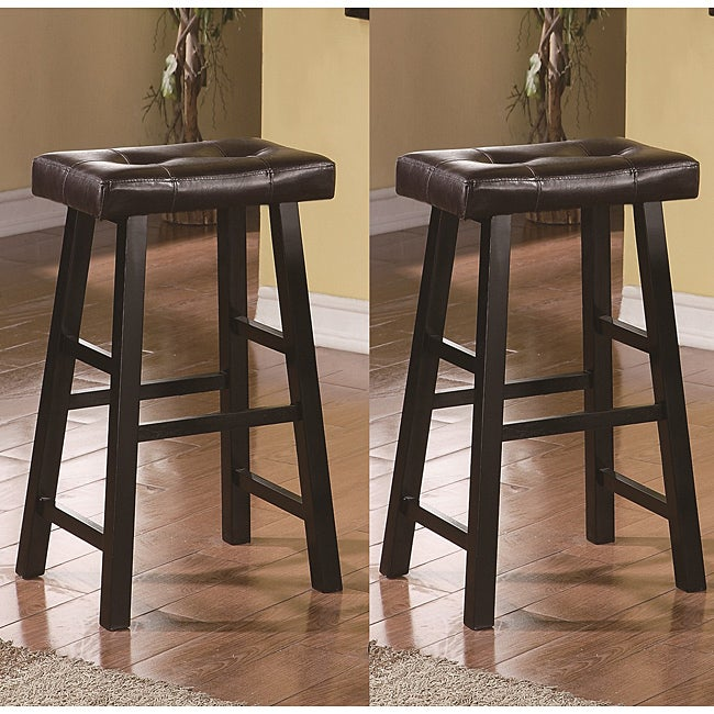 Shop Saddle Black Brown 29 Inch Bicast Leather Bar Stools