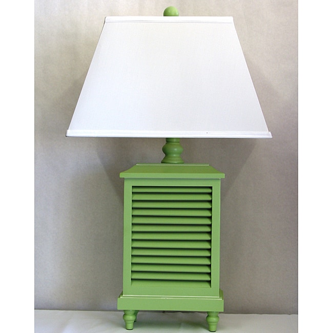 Mint Green Whitewashed Wood Shutter Lamp With White
