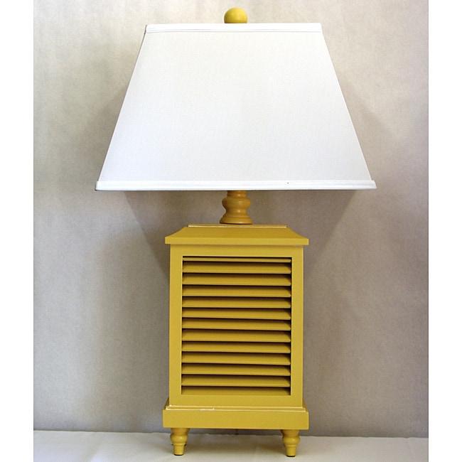 Light Yellow Wood Shutter Lamp