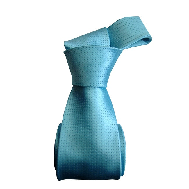 Dmitry Men's Italian Silk Turquoise Patterned Tie and Pocket Square Set