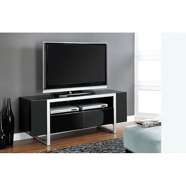Shop Glossy Black And Silver Tv Stand With Speaker Doors Free