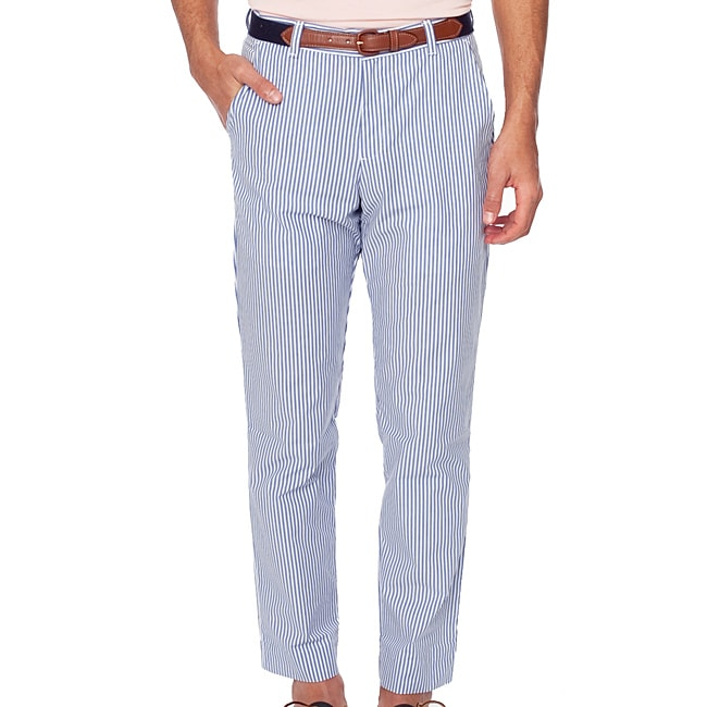 American Apparel Men's Welt Pocket White Blue Stripe Pants - Free ...