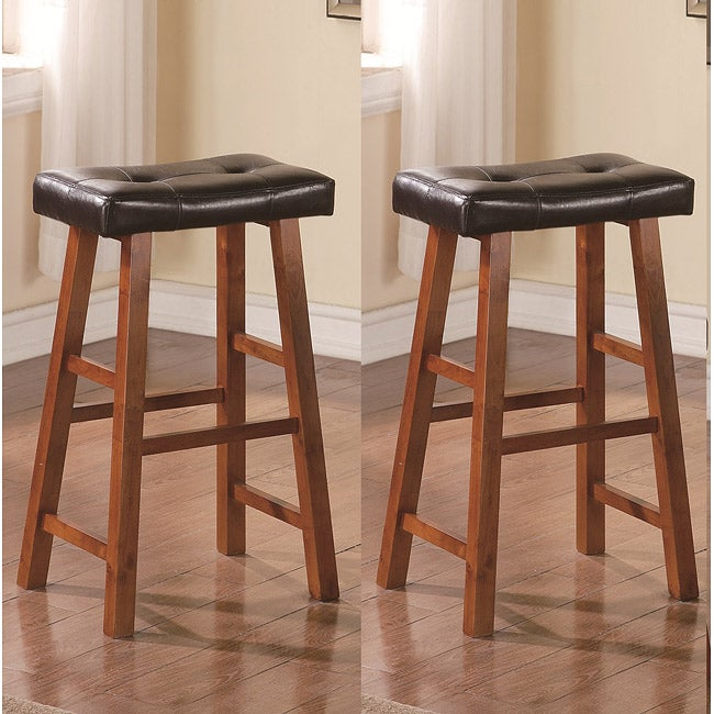 29 Inch Walnut Brown Leather Saddle Bar Stools Set Of 2