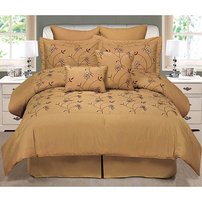 Carina Gold Embroidered Queen-size 8-piece Comforter Set