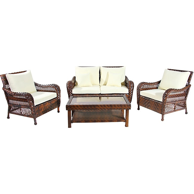 wicker lane outdoor wicker 4piece patio furniture set - Overstock Patio Furniture