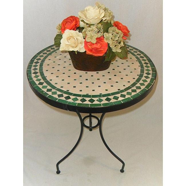 Iron Green and Natural Mosaic Table (Morocco)