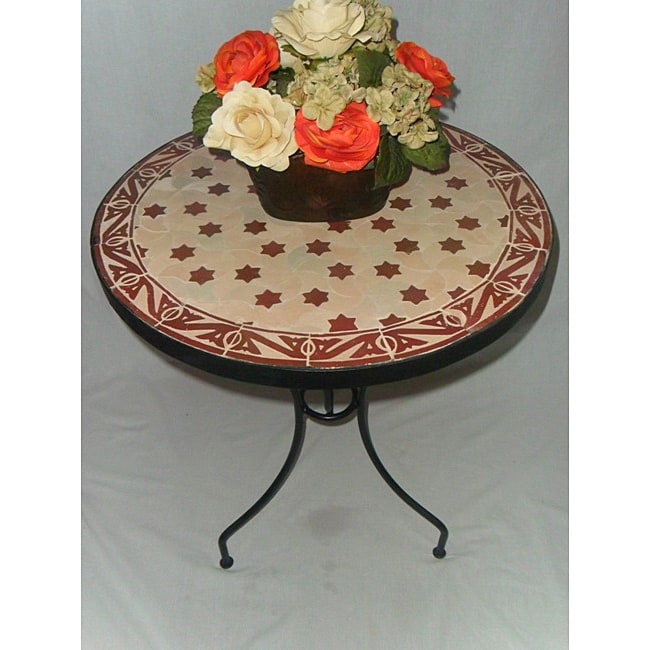Iron Mosaic Burgundy and Natural Star Table (Morocco)