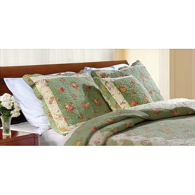 Greenland Home Fashions Bliss Sage Quilted Shams (Set of 2)