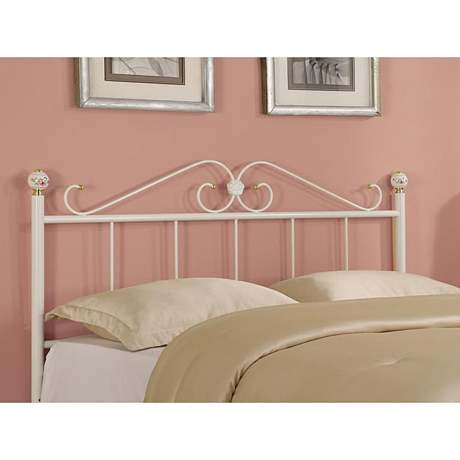 White Queen/Full-Size Gold Accented Metal Headboard
