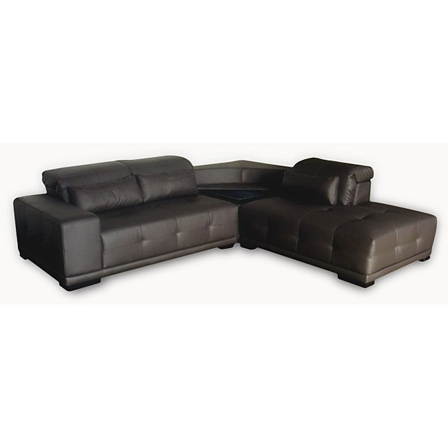 Lauren Dark Brown Leather Sectional Sofa