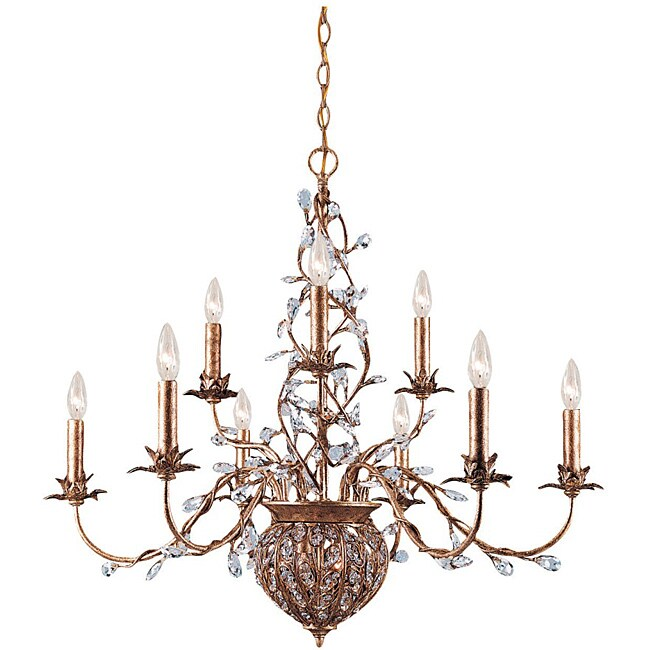 Crystorama Bethany 9-light Etruscan Gold Chandelier