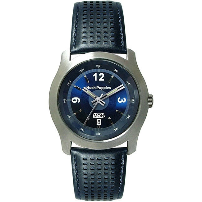 Hush Puppies Men's Blue Leather Strap Watch, Size One Siz...