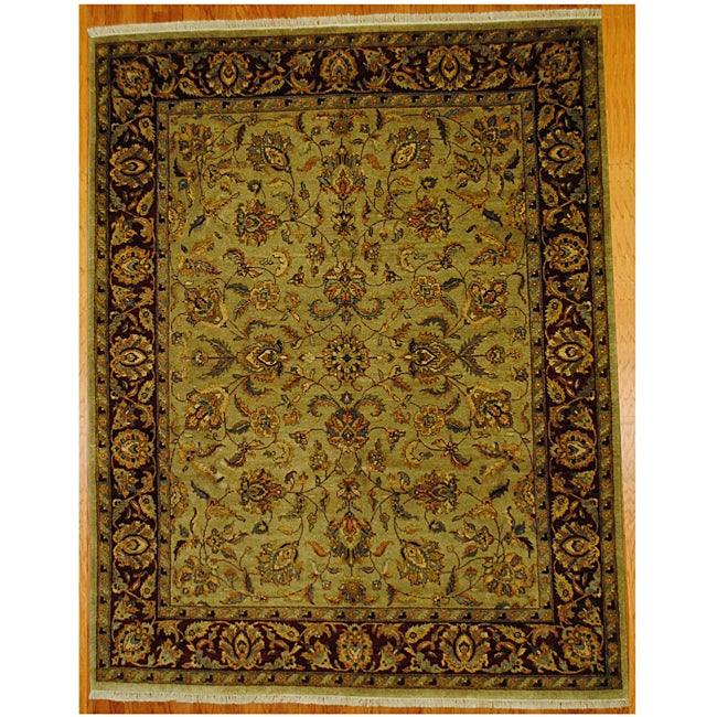 Indo Hand-knotted Mahal Lt. Green/ Burgundy Wool Rug (8' x 10'2)