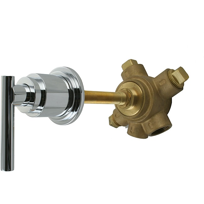 Westbrass 5-Port In Wall 3-Way Shower Diverter Valve with Lever Handle in Polished Chrome