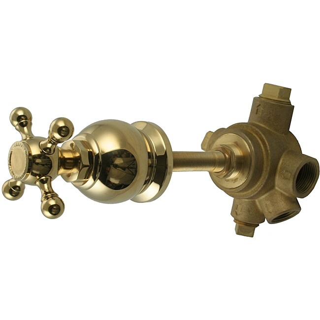 Westbrass 5-Port In Wall 3-Way Shower Diverter Valve with Cross Handle Polished Brass
