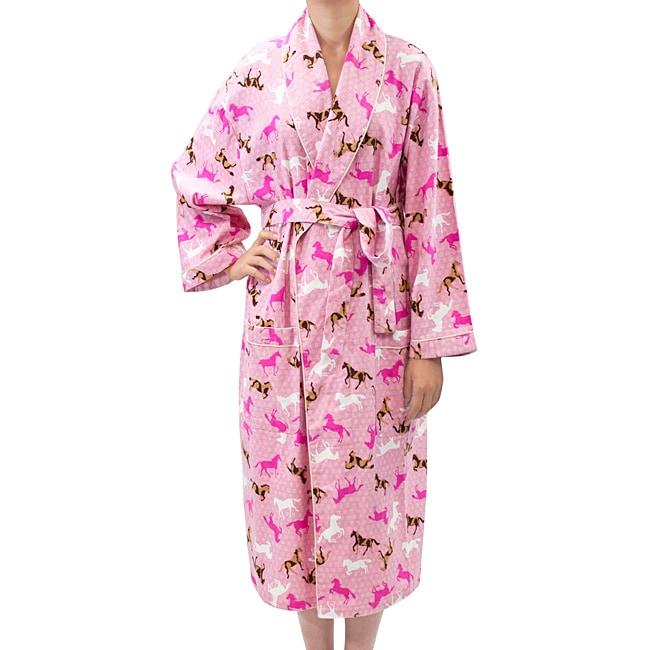 Leisureland Women' Flannel Horse Print Robe (Pink One Size)