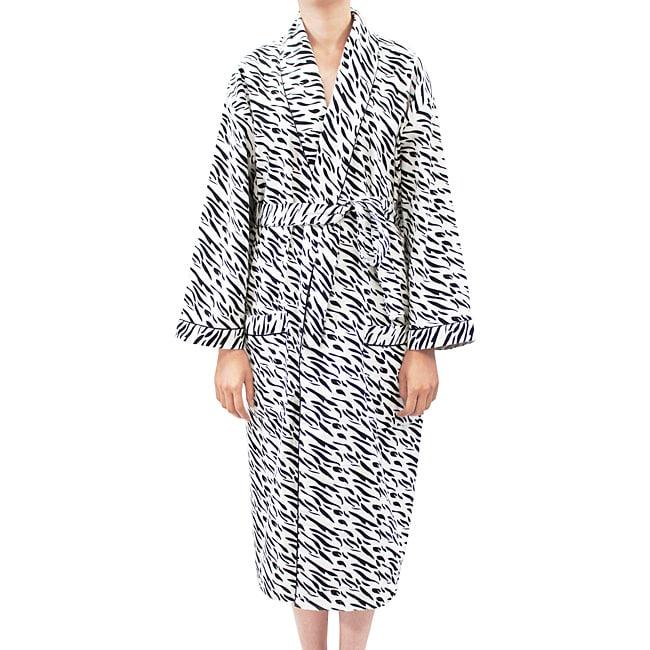 Leisureland Women's Flannel Zebra Print Robe