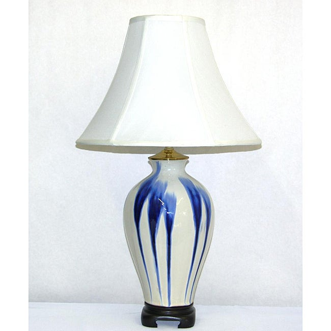 Ceramic Table Lamp in White with Blue Drip Finish