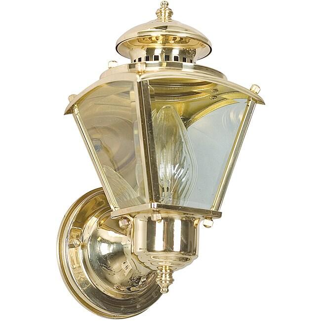 One Light Polished Brass Wall Lantern