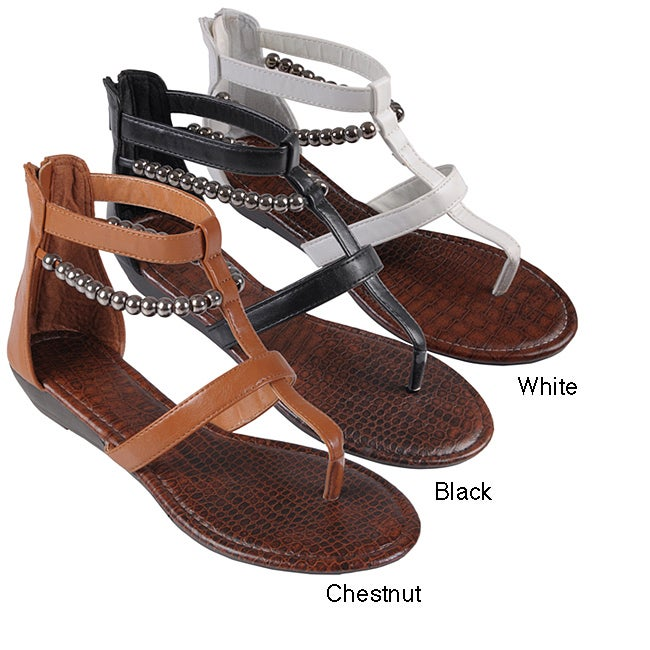 324a278b6525 Shop Journee Collection Women s  Latte  Bead Accent Gladiator Sandals -  Free Shipping On Orders Over  45 - Overstock.com - 6415312