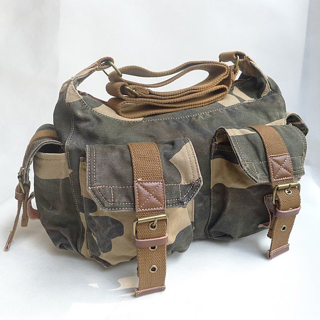 Camouflauge 'Squadron' 13-inch Washed Cotton Canvas Duffel Bag