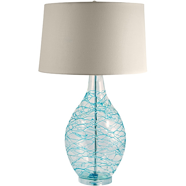 hand blown glass lamp with blue coils free shipping today. Black Bedroom Furniture Sets. Home Design Ideas