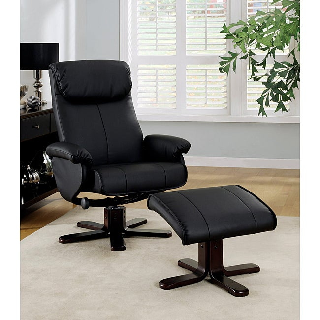 Black Bonded Leather Swivel Chair And Ottoman