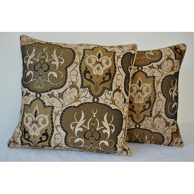 Sherry Kline 18-Inch Emporium Brown and Gold Pillow (Set of 2)