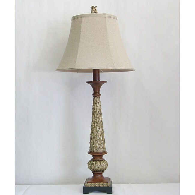 Lamp Factory Aged Gold Finish Palm Leaf Table Lamp