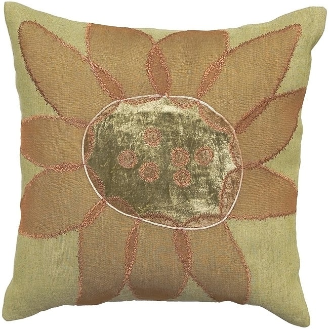 Mackay Beige/ Rose Flower Down Decorative Pillow