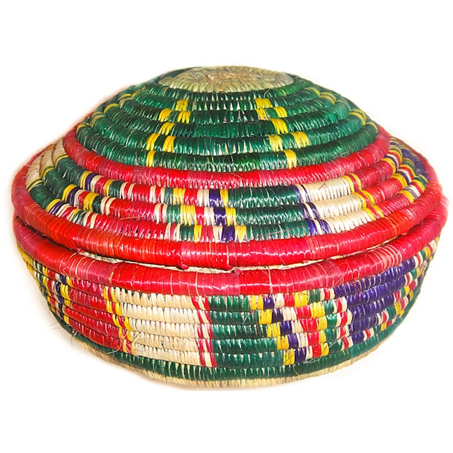 Multi-colored Circular Lid Basket (Ethiopia)