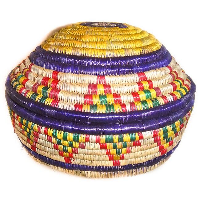 Multi-Colored Circular Lid Basket (Ethiopia)