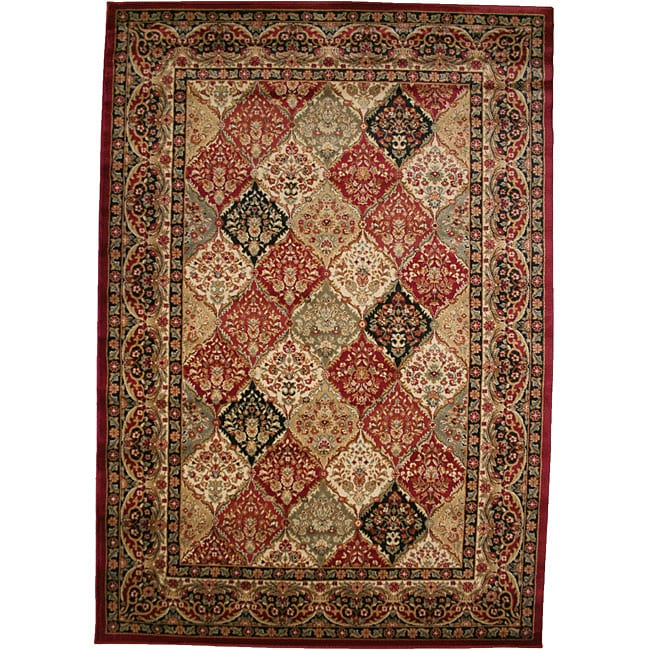Panel Kerman Claret Red Area Rug