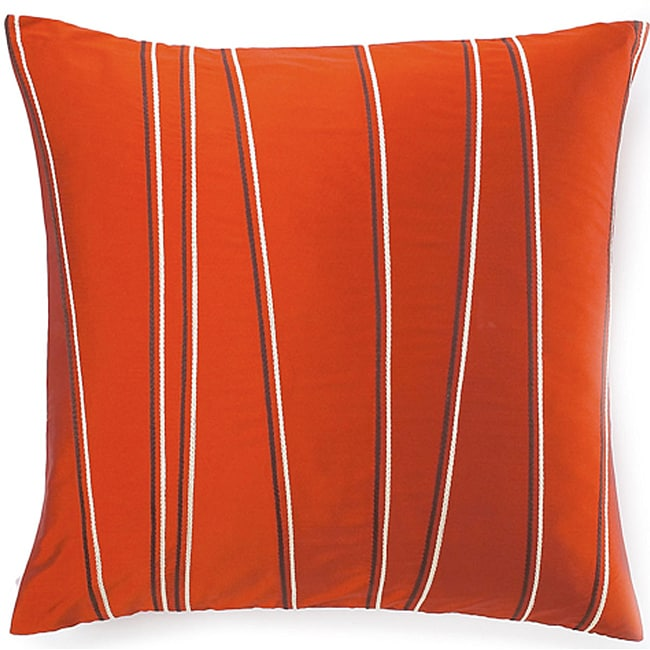 Diagonal-stripe-motif Orange Decorative Throw Pillow