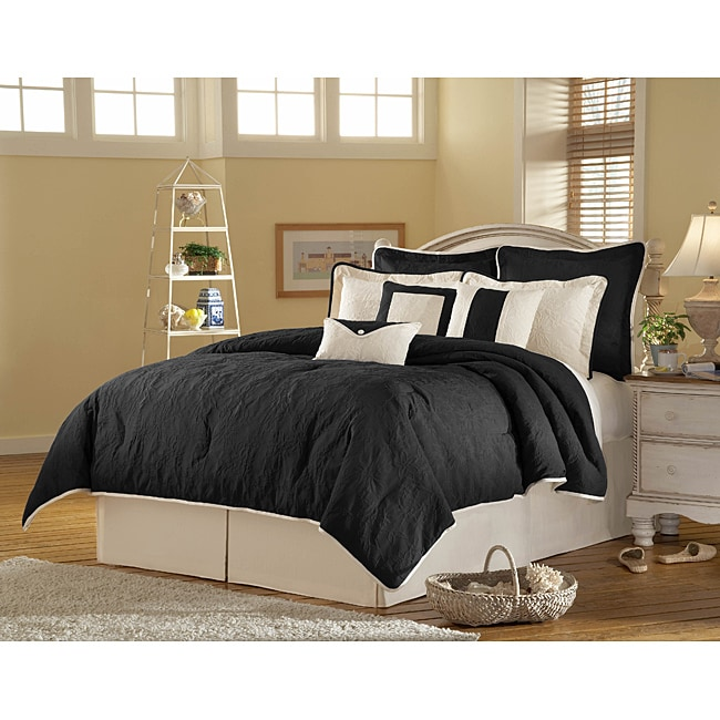 Melissa 'Elite Matelasse' 9-piece Black/ Off-White Queen Comforter Set