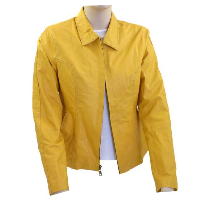 Women's Modern Flair Yellow Leather Jacket (Ecuador)