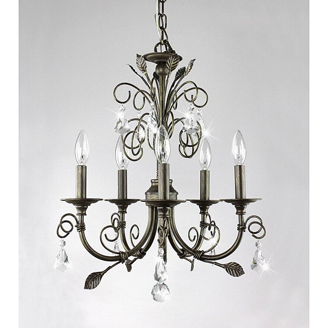 Sapri 5-light Brushed Oak Chandelier with Crystal