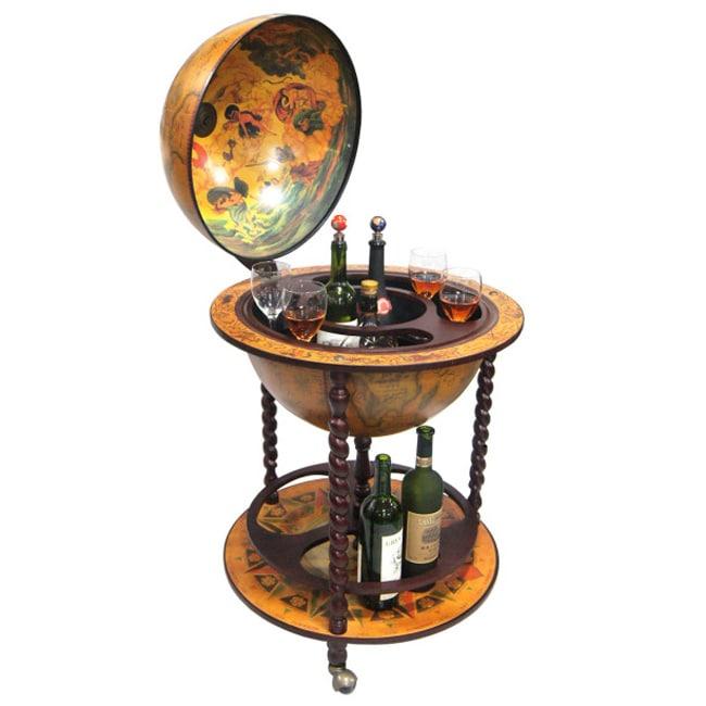 16th century italian style 22 inch globe bar w twisted for 16 inch floor old world bar globe cart