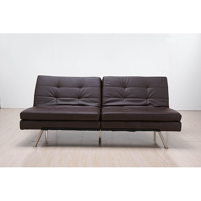 Memphis Brown Double Cushion Futon Sofa Bed Free