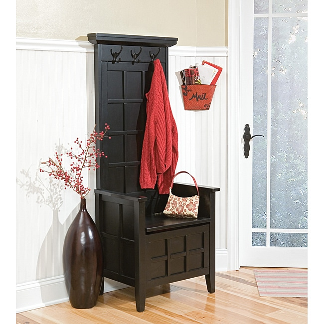 Mini Black Hall Tree And Storage Bench