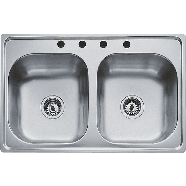 teka stainless steel 33-inch top mount double bowl kitchen sink