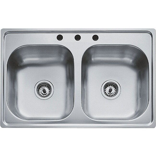 Teka Stainless Steel 33 Inch Top Mount Double Bowl Kitchen Sink