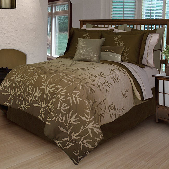 Bamboo Leaves 7 Piece King Size Duvet Cover Set Free