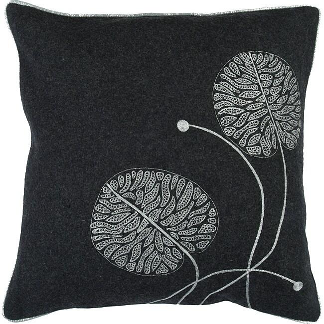 Leaf Helm Large Grey Duotone Decor Pillow