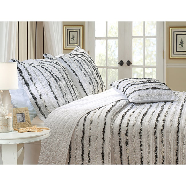 Greenland Home Fashions Midnight Ruffle Quilted Pillow Shams (Set of 2)