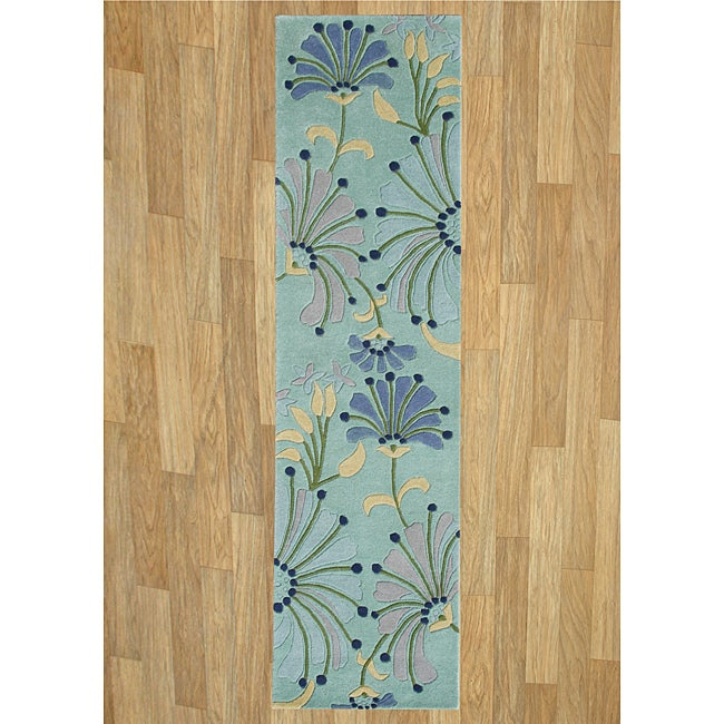 Alliyah Handmade Nile Blue New Zealand Blend Wool Rug(2'5 x 8')