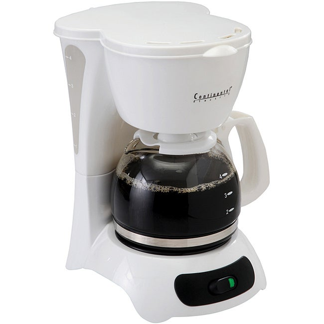 Continental Electric 4-Cup White Coffee Maker