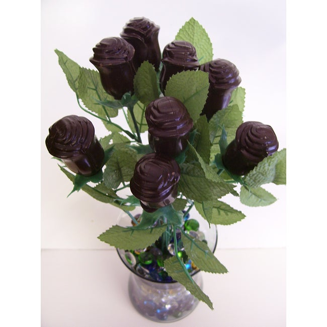 Lang's Chocolates One-Dozen Milk Chocolate Long Stem Roses