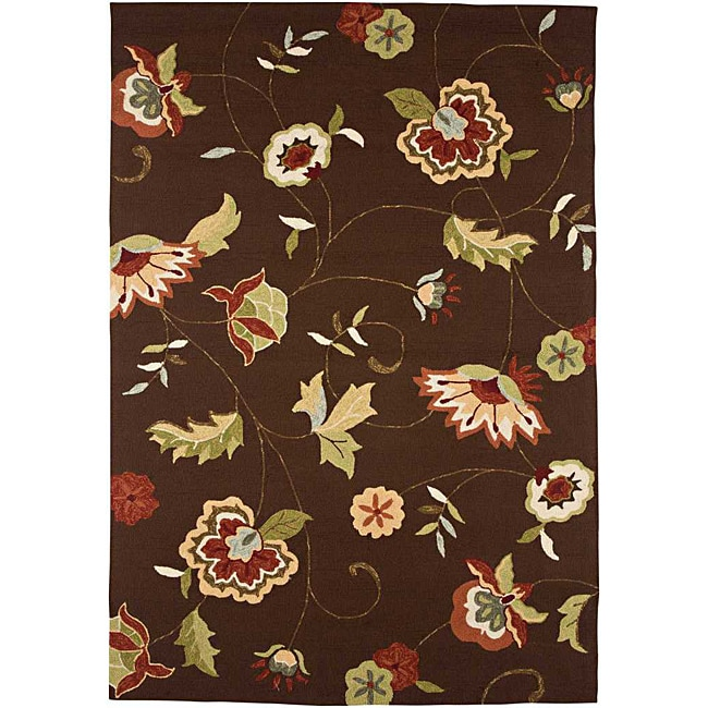 Hand-hooked Brown/ Red Floral Rug (5' x 7'6)