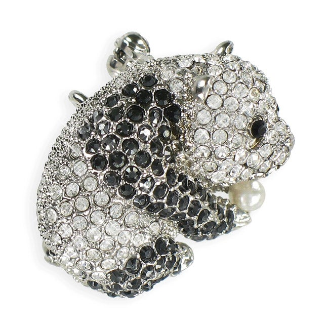Silvertone Black and White Crystal Panda Brooch
